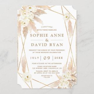 Charm White Roses Pampas Grass Gold Wedding Invitations