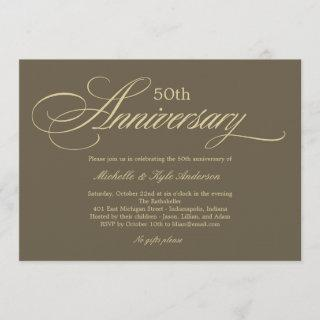 Charming Script Anniversary Invitations - Golden