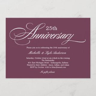 Charming Script Anniversary Invitations - Purple