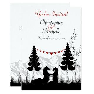 Charming Silhouette Mountain Bear Couple Wedding Invitation