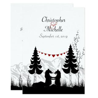 Charming Silhouette Mountain Bears Wedding Invitations