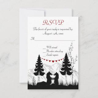 Charming Silhouette Mountain Bears Wedding RSVP