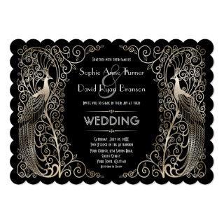 Charming Silver Art Deco Peacocks Wedding Invitations