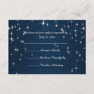 Charming Star Struck Wedding | Navy Blue RSVP Card