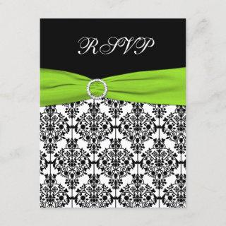 Chartreuse, White, and Black Damask Reply Card