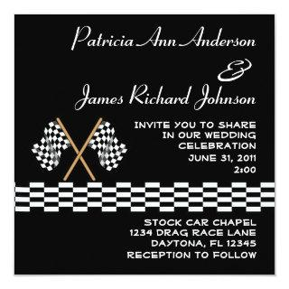 Checkered Flag Auto Racer Racing Sports Wedding Invitation