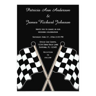 Checkered Flag Auto Racing Wedding Invitations