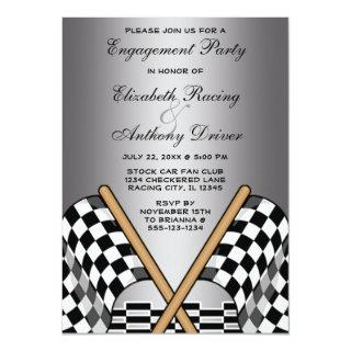 Checkered Flag Racing Fan Wedding Engagement Party Invitation