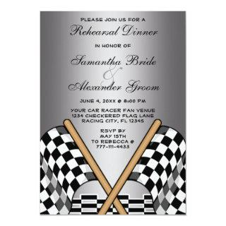 Checkered Flag Racing Fan Wedding Rehearsal Dinner Invitations