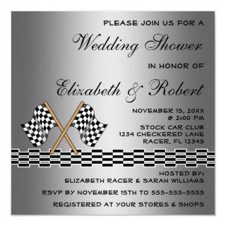 Checkered Flag Racing Fan Wedding Shower Silver 2 Invitations