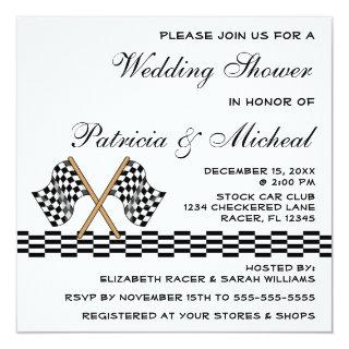 Checkered Flag Racing Fan Wedding Shower White Invitations