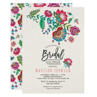 Cheerful Mexican Red & Turquoise Folk art Floral Invitation