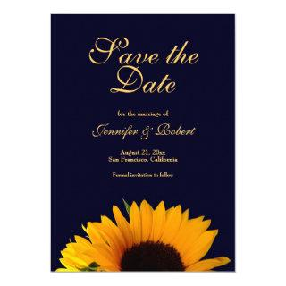Cheerful Sunflower Save the Date Navy Blue Invitations