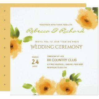 CHEERFUL YELLOW ORANGE FLOWERS WEDDING Invitations