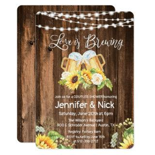Cheers and Beers Rustic Couples Shower Invitations