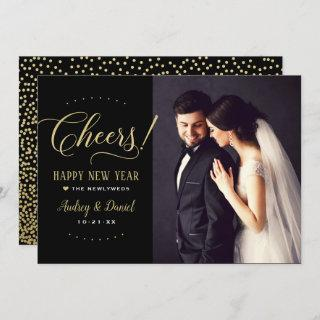 Cheers Gold Black Happy New Year Wedding Photo Holiday Card
