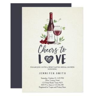 Cheers to Love Bridal shower invite Wine Tasting