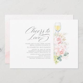Cheers To Love Wine Tasting Pink Bridal Shower Invitations