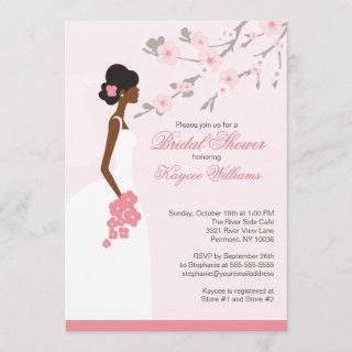 Cherry Blossom African American Bridal Shower Invitations