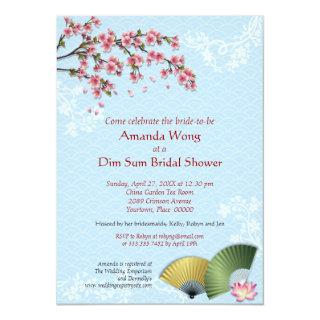 Cherry Blossom and Fans Dim Sum Blue Bridal Shower Invitation