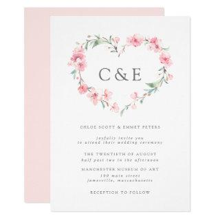 Cherry Blossom Botanical Heart Monogram Wedding Invitations