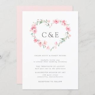 Cherry Blossom Botanical Heart Monogram Wedding Invitation