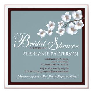 Cherry Blossom Bridal Shower Invitation Blue Brown