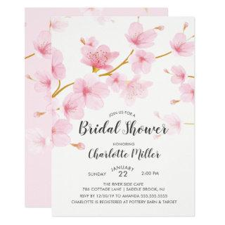 Cherry Blossom Floral Bridal Shower Invitations
