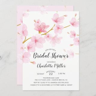 Cherry Blossom Floral Bridal Shower Invitation