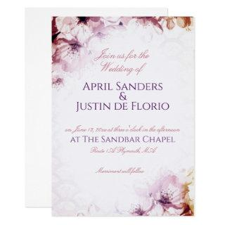 Cherry Blossom Floral Sunset Plum Wedding Invitations