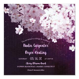 Cherry Blossom Floral Wedding Invitations