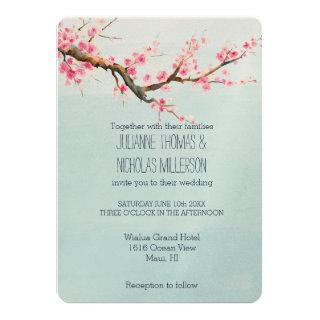 Cherry Blossom Flowers Wedding Invitations