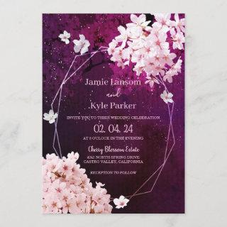 Cherry Blossom Geometric Floral Wedding Invitation