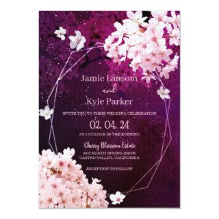 Cherry Blossom Geometric Floral Wedding Invitations