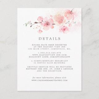 Cherry Blossom Pink Floral Wedding Guest Details Enclosure Card