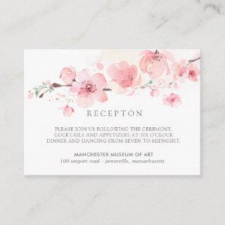 Cherry Blossom Pink Floral Wedding Reception Enclosure Card