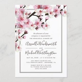 Cherry Blossom Pink Rehearsal Dinner Invitations