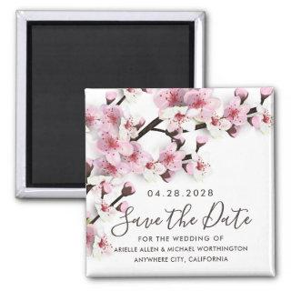 Cherry Blossom Pink Wedding Save the Date Magnets