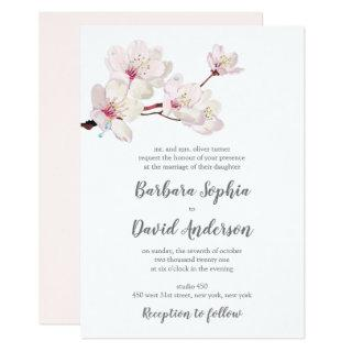 Cherry Blossom Sakura Japanese Wedding Invitation