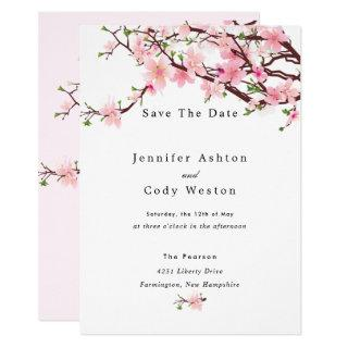 Cherry Blossom Spring Wedding Save The Date Invitations