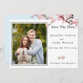 Cherry Blossom Spring Wedding Save The Date PHOTO