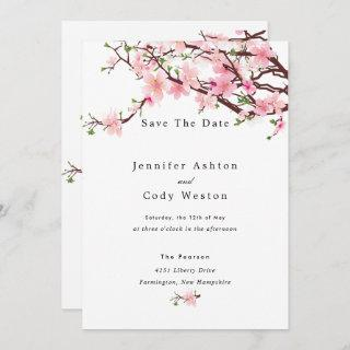 Cherry Blossom Spring Wedding Save The Date White