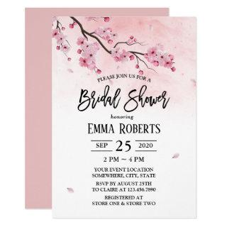 Cherry Blossom Watercolor Floral Bridal Shower Invitations