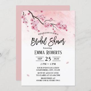 Cherry Blossom Watercolor Floral Bridal Shower Invitation