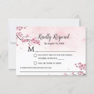 Cherry Blossom Watercolor Pink Floral Wedding RSVP