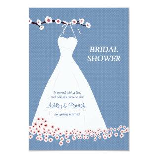 Cherry Blossom  & Wedding Dress on Polka Backgroun Invitations