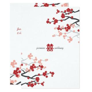 Cherry Blossoms Double Happiness Chinese Wedding Invitations