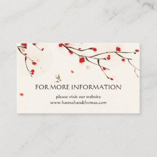 Cherry Blossoms Floral Wedding Information Enclosure Card