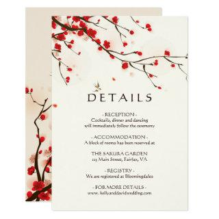 Cherry Blossoms Watercolor Floral Wedding Details Invitations