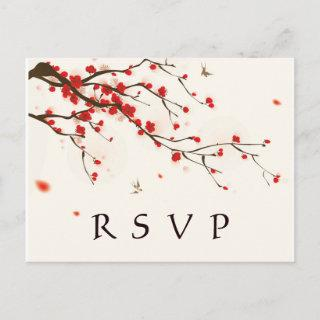 Cherry Blossoms Watercolor Floral Wedding RSVP Invitations Postcard